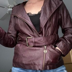 Guess Wine Faux Leather Jacket